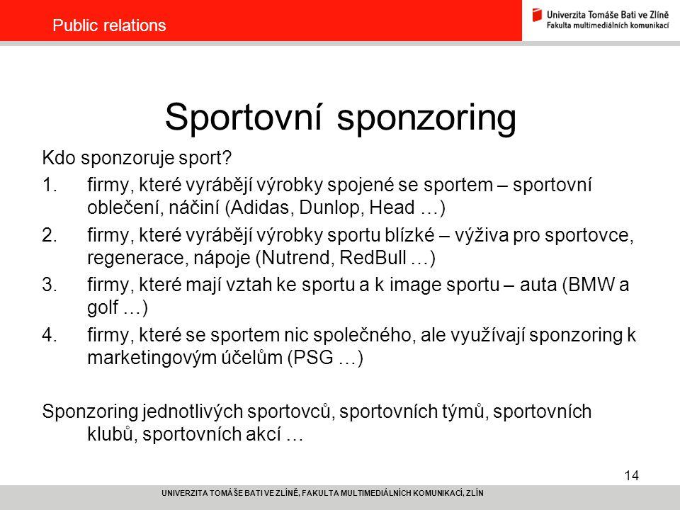 Sportovní sponzoring Kdo sponzoruje sport