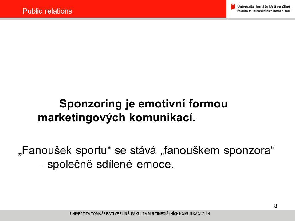 Sponzoring je emotivní formou marketingových komunikací.