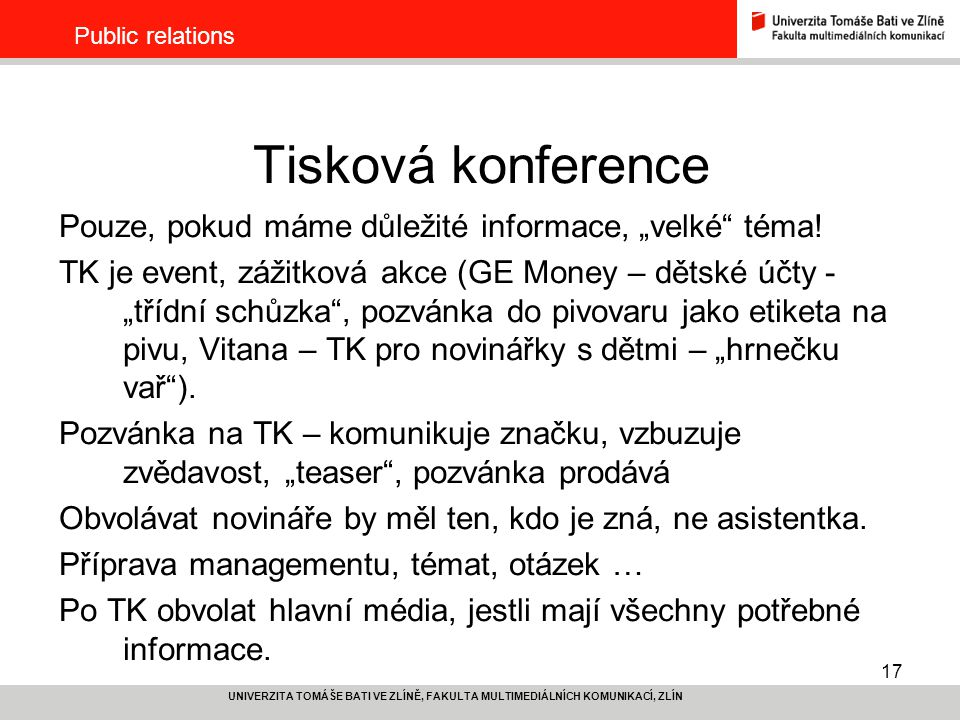 """Tisková konference Pouze, pokud máme důležité informace, """"velké téma!"""