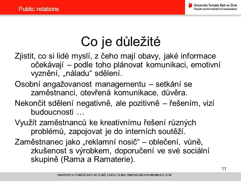 Public relations Co je důležité.