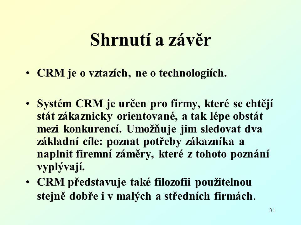 Shrnutí a závěr CRM je o vztazích, ne o technologiích.