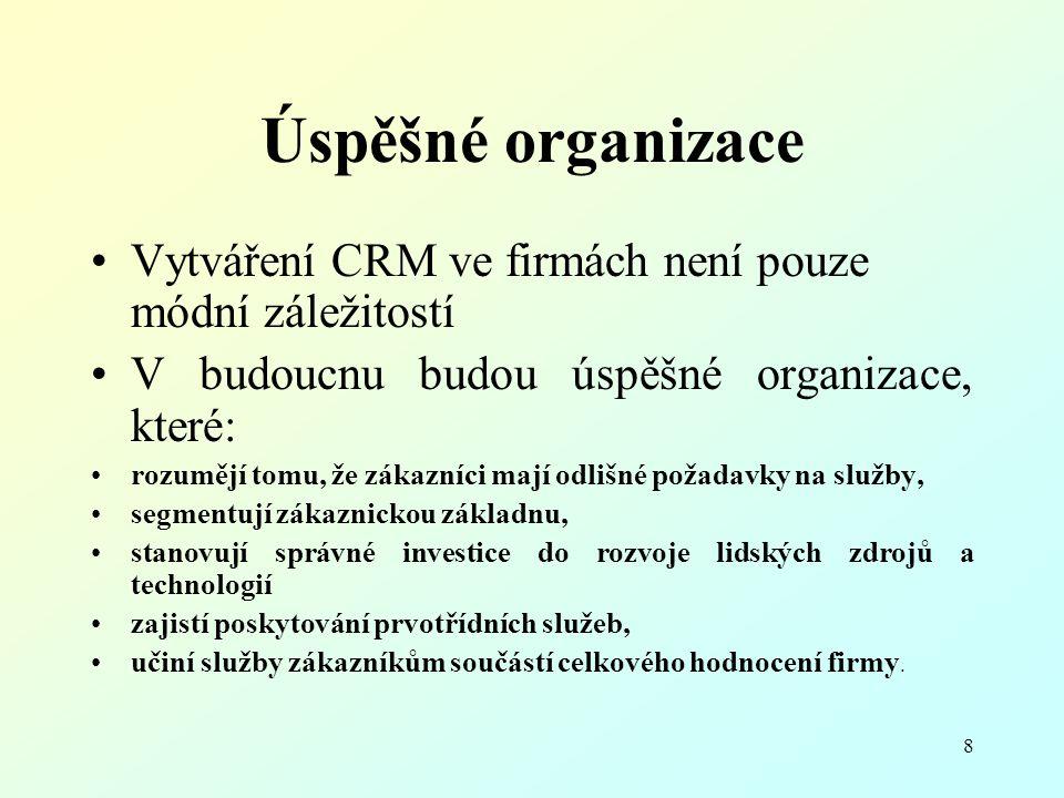 Úspěšné organizace Vytváření CRM ve firmách není pouze módní záležitostí. V budoucnu budou úspěšné organizace, které: