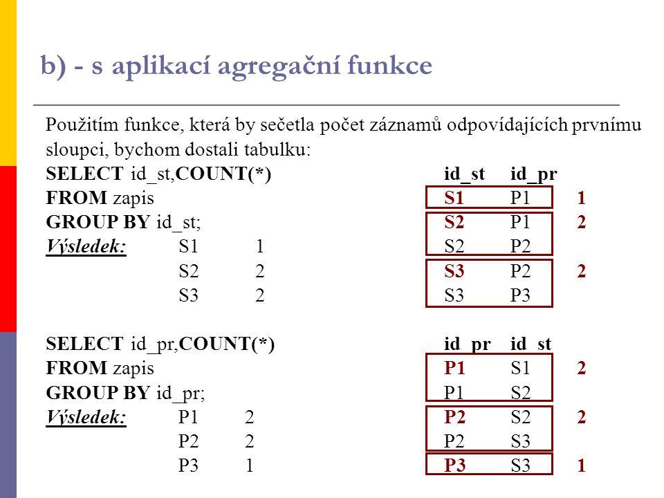 b) - s aplikací agregační funkce