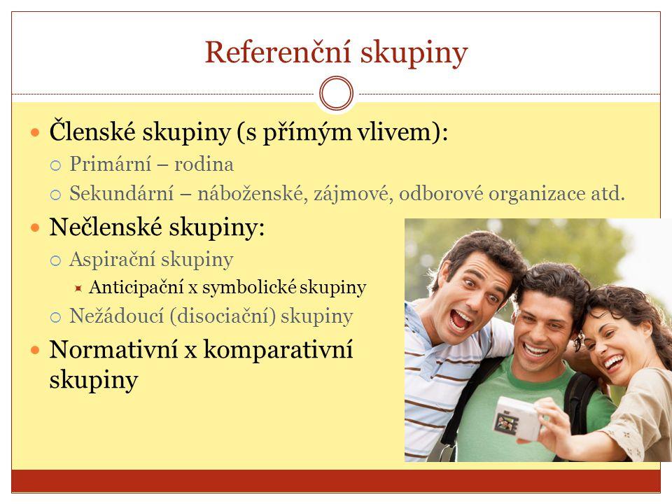 Referenční skupiny Členské skupiny (s přímým vlivem):