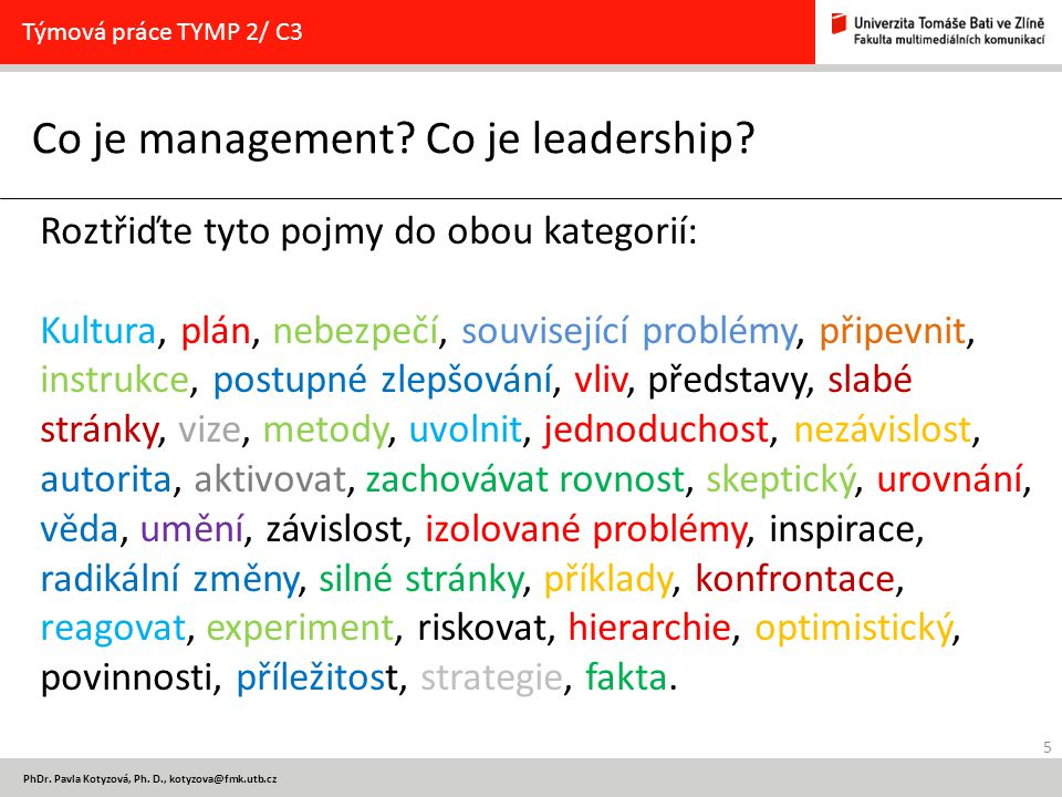 Co je management Co je leadership