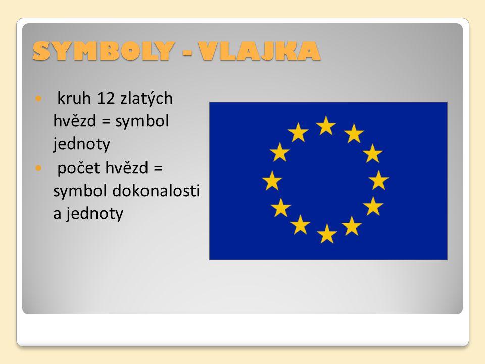 SYMBOLY - VLAJKA kruh 12 zlatých hvězd = symbol jednoty