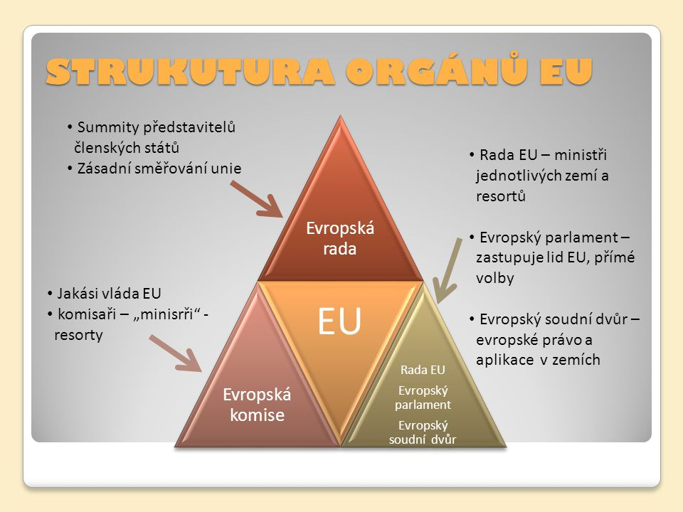 EU STRUKUTURA ORGÁNŮ EU Summity představitelů členských států