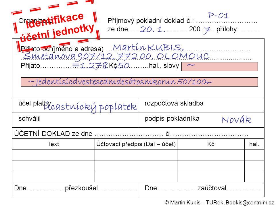 Účtovací předpis (Dal – účet)