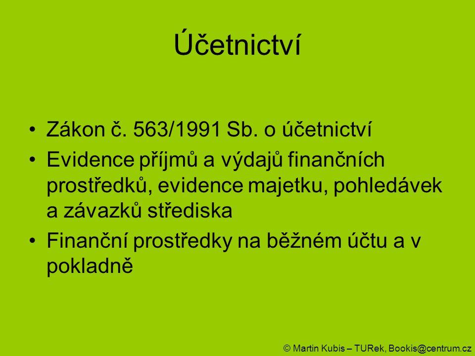 Účetnictví Zákon č. 563/1991 Sb. o účetnictví