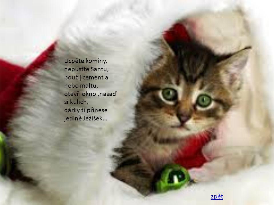 Ucpěte komíny, nepusťte Santu, použij cement a nebo maltu, otevři okno ,nasaď si kulich, dárky ti přinese jedině Ježíšek...