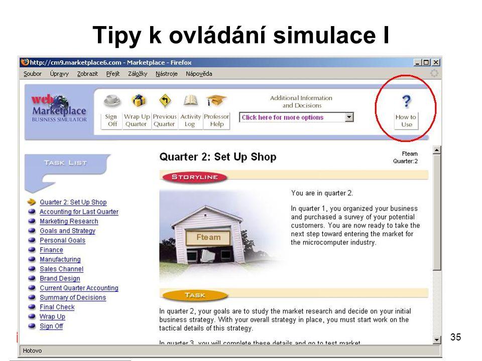 Tipy k ovládání simulace I