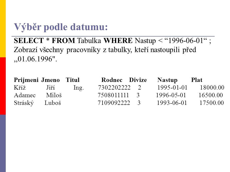 Výběr podle datumu: SELECT * FROM Tabulka WHERE Nastup < 1996-06-01 ; Zobrazí všechny pracovníky z tabulky, kteří nastoupili před ,,01.06.1996 .
