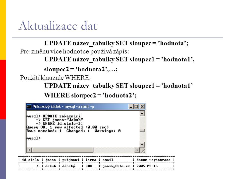 Aktualizace dat UPDATE název_tabulky SET sloupec = 'hodnota';