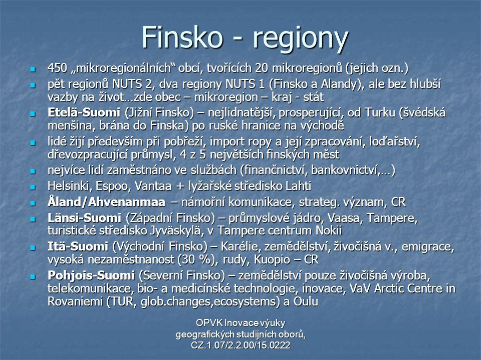 """Finsko - regiony 450 """"mikroregionálních obcí, tvořících 20 mikroregionů (jejich ozn.)"""