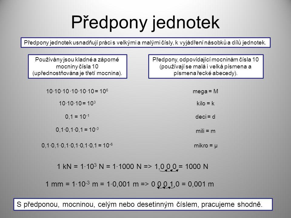 Předpony jednotek 1 kN = 1·103 N = 1·1000 N => 1,0 0 0 = 1000 N
