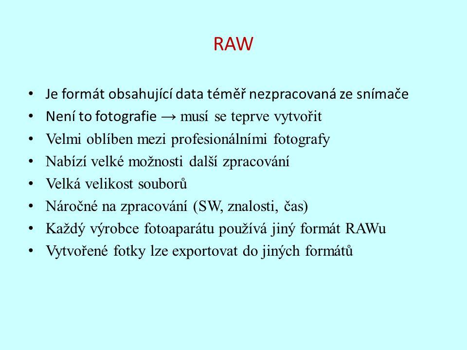 RAW Je formát obsahující data téměř nezpracovaná ze snímače