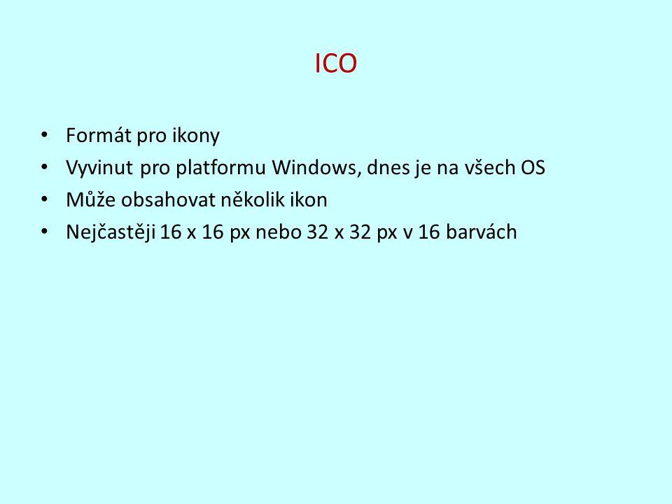ICO Formát pro ikony. Vyvinut pro platformu Windows, dnes je na všech OS. Může obsahovat několik ikon.