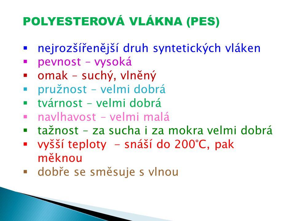 POLYESTEROVÁ VLÁKNA (PES)