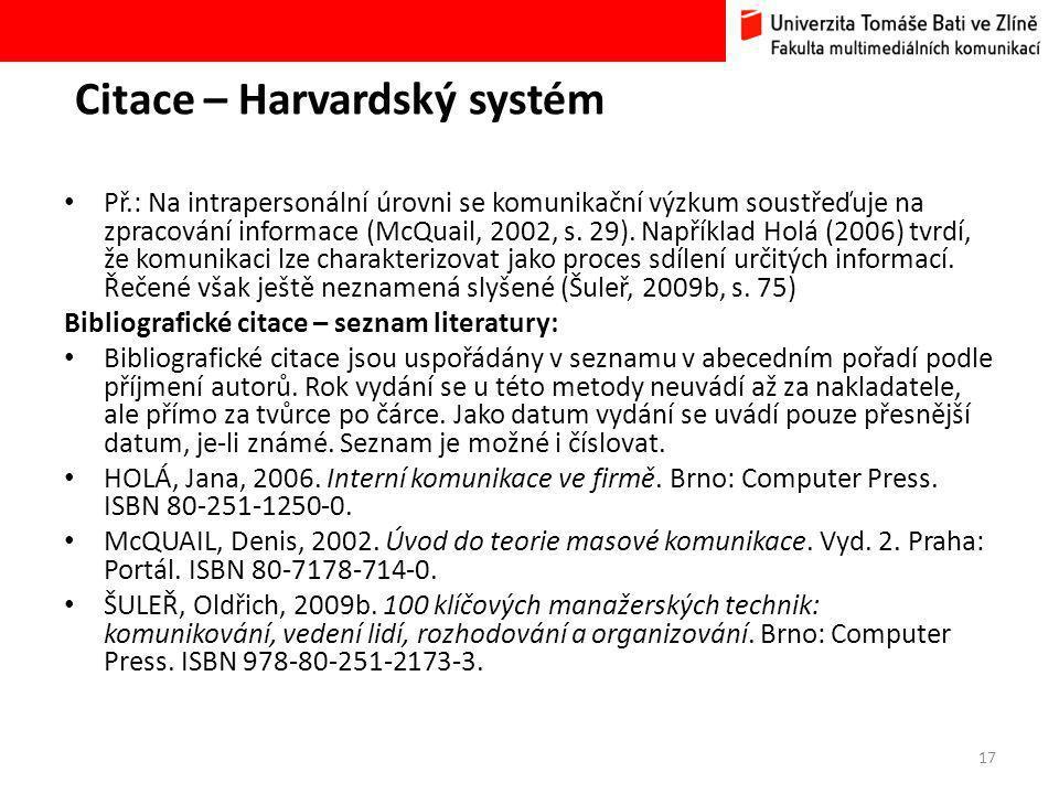 Citace – Harvardský systém