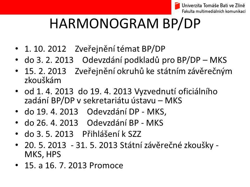 HARMONOGRAM BP/DP 1. 10. 2012 Zveřejnění témat BP/DP