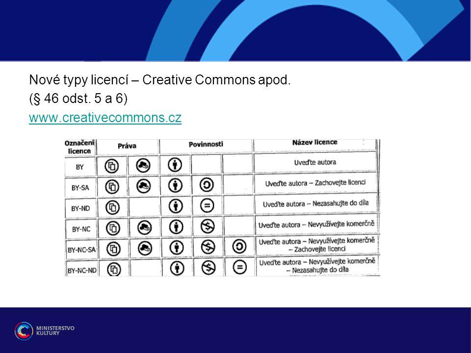 Nové typy licencí – Creative Commons apod.