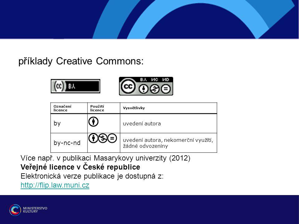 r příklady Creative Commons: