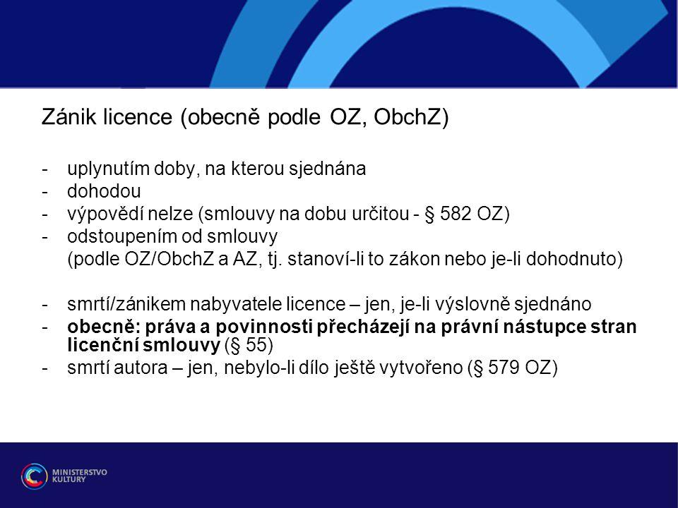 Zánik licence (obecně podle OZ, ObchZ)