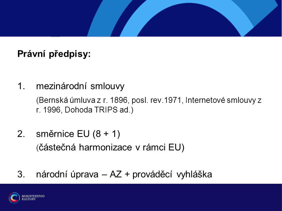 Právní předpisy: mezinárodní smlouvy. (Bernská úmluva z r. 1896, posl. rev.1971, Internetové smlouvy z r. 1996, Dohoda TRIPS ad.)