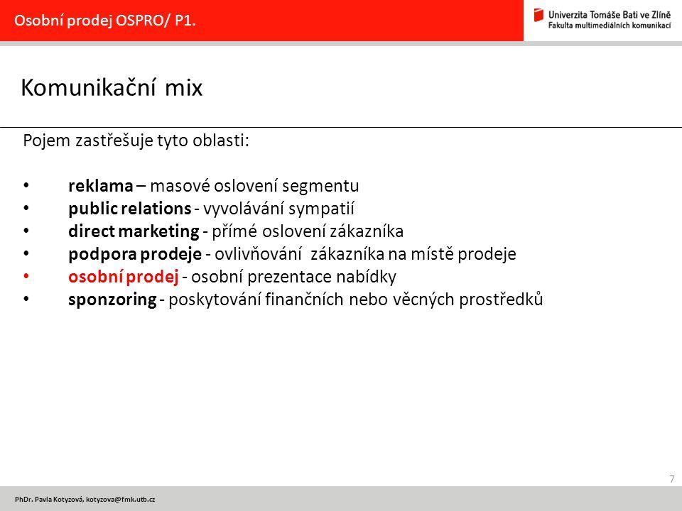 Komunikační mix Pojem zastřešuje tyto oblasti: