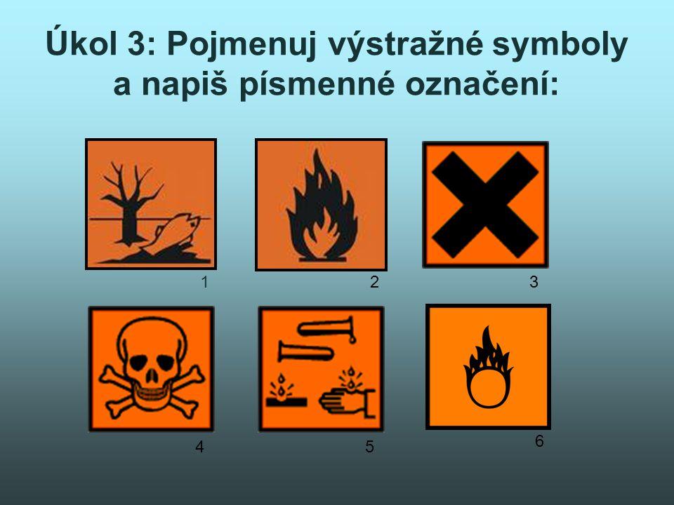 Úkol 3: Pojmenuj výstražné symboly a napiš písmenné označení: