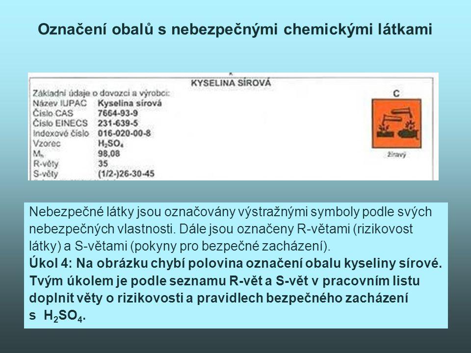 Označení obalů s nebezpečnými chemickými látkami