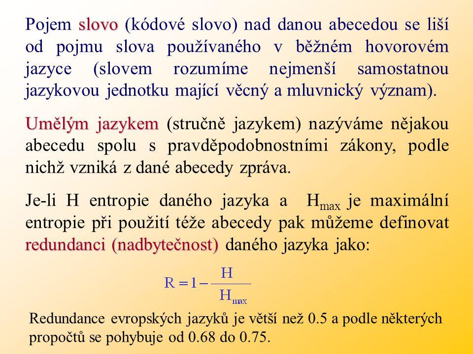 Pojem slovo (kódové slovo) nad danou abecedou se liší od pojmu slova používaného v běžném hovorovém jazyce (slovem rozumíme nejmenší samostatnou jazykovou jednotku mající věcný a mluvnický význam).