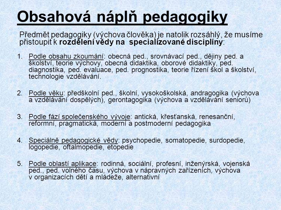 Obsahová náplň pedagogiky