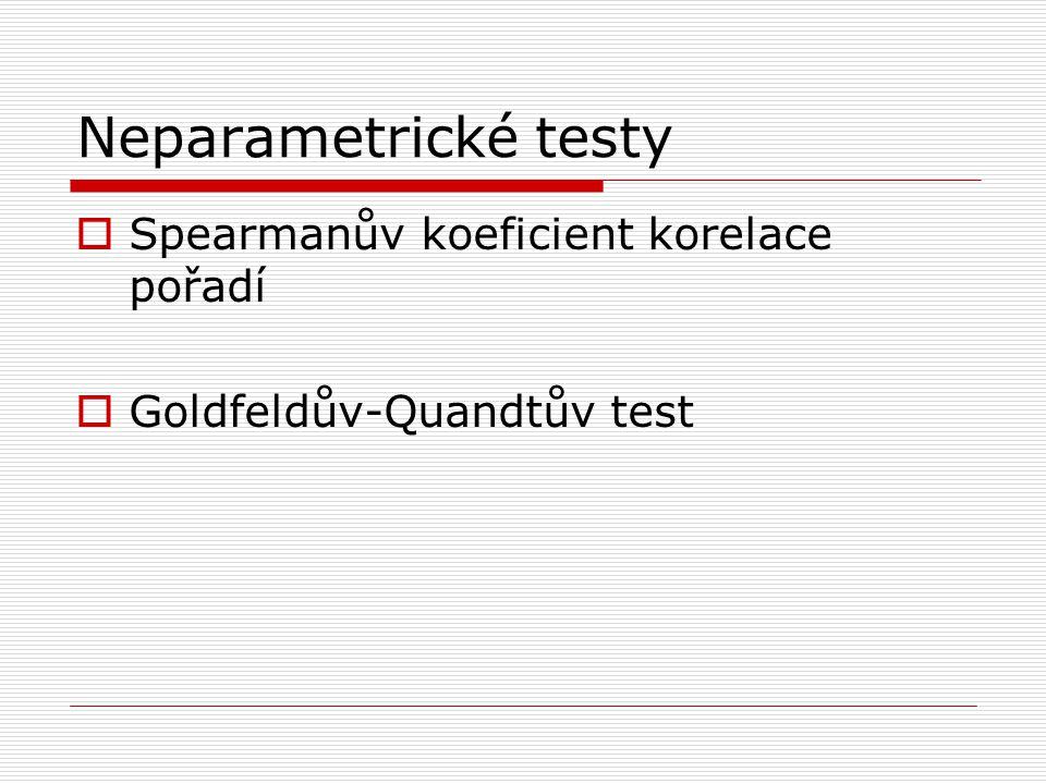 Neparametrické testy Spearmanův koeficient korelace pořadí