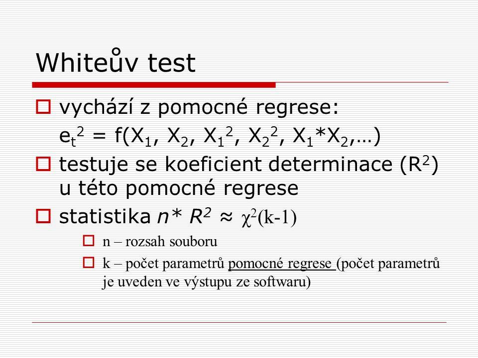 Whiteův test vychází z pomocné regrese:
