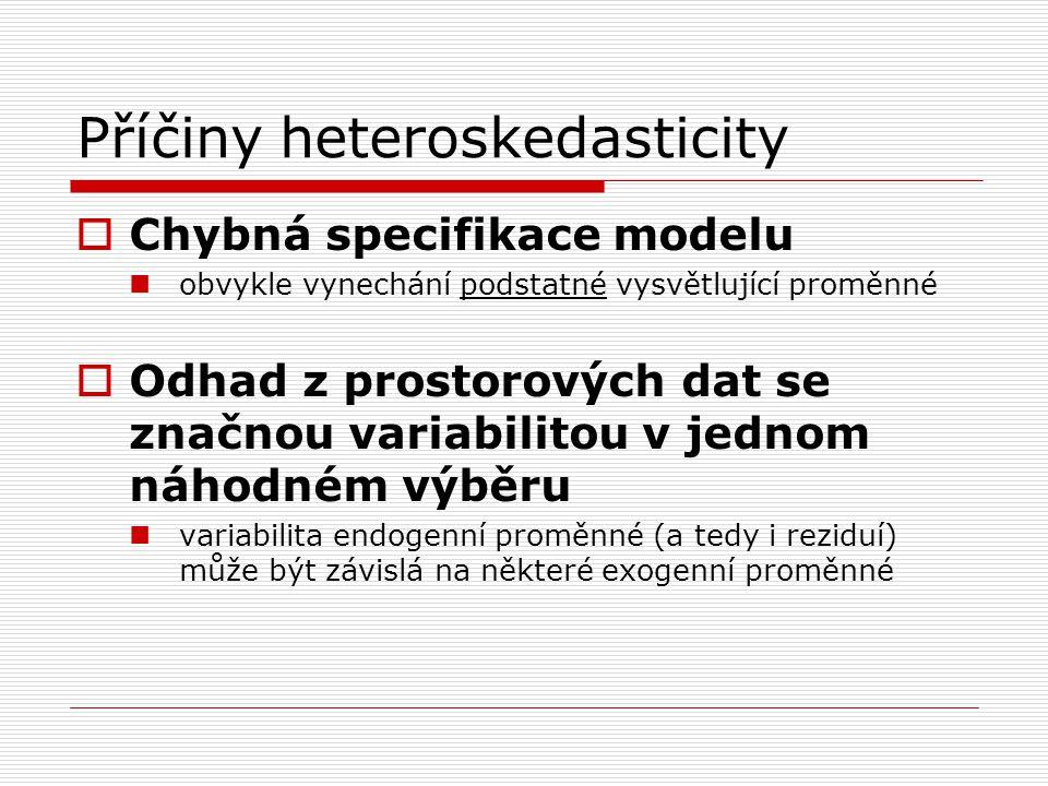 Příčiny heteroskedasticity