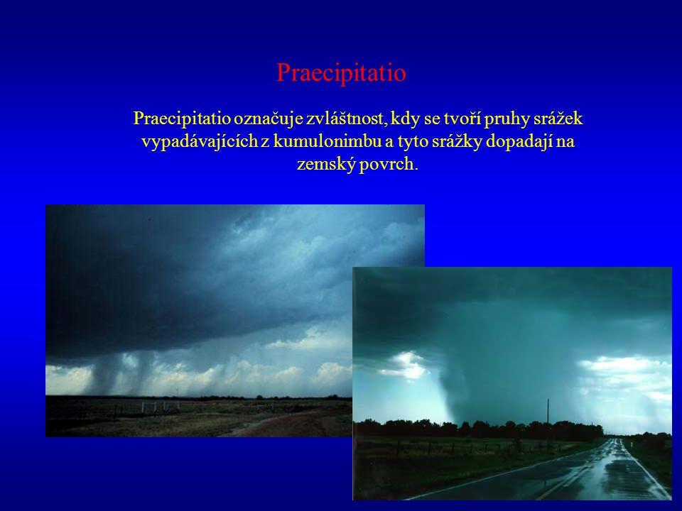 Praecipitatio Praecipitatio označuje zvláštnost, kdy se tvoří pruhy srážek vypadávajících z kumulonimbu a tyto srážky dopadají na zemský povrch.