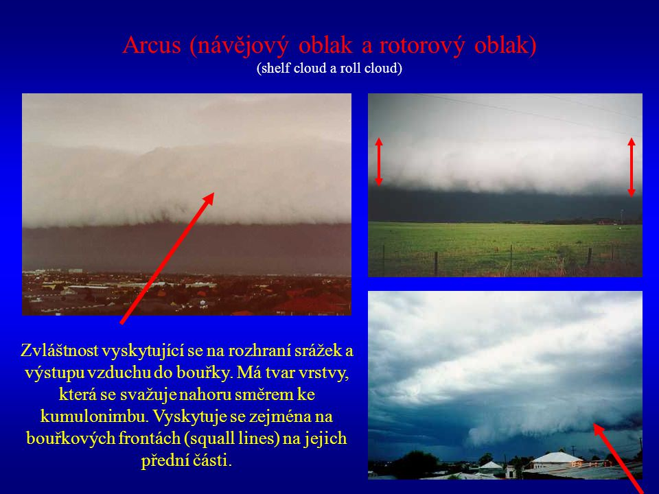 Arcus (návějový oblak a rotorový oblak) (shelf cloud a roll cloud)