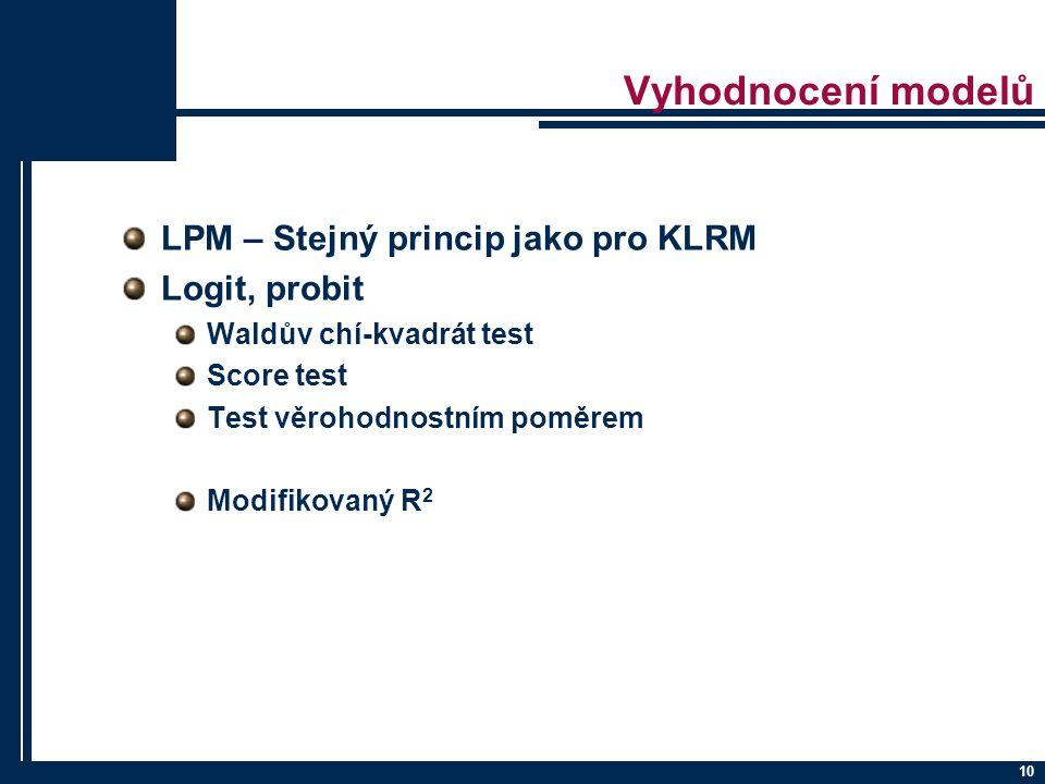 Vyhodnocení modelů LPM – Stejný princip jako pro KLRM Logit, probit