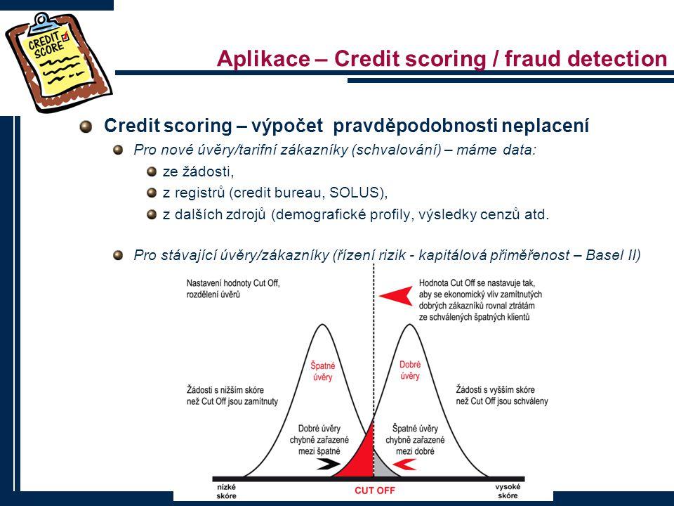 Aplikace – Credit scoring / fraud detection