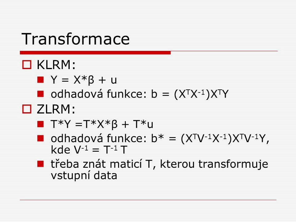 Transformace KLRM: ZLRM: Y = X*β + u odhadová funkce: b = (XTX-1)XTY