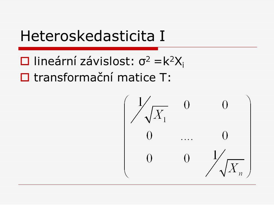 Heteroskedasticita I lineární závislost: σ2 =k2Xi