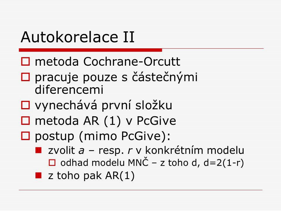 Autokorelace II metoda Cochrane-Orcutt