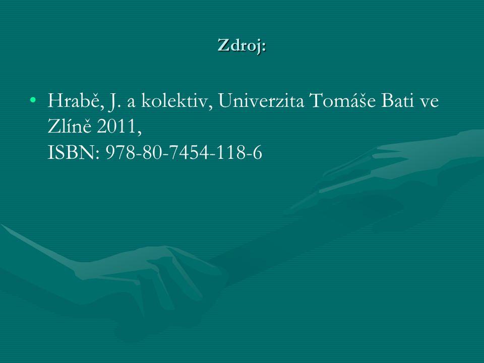 Zdroj: Hrabě, J. a kolektiv, Univerzita Tomáše Bati ve Zlíně 2011, ISBN: 978-80-7454-118-6