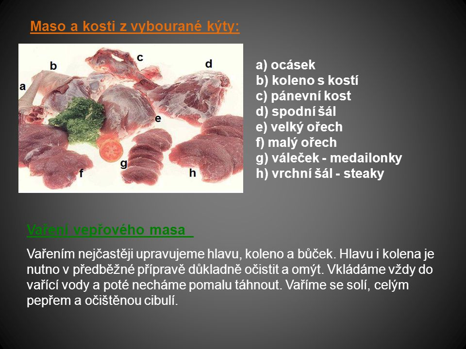 Maso a kosti z vybourané kýty:
