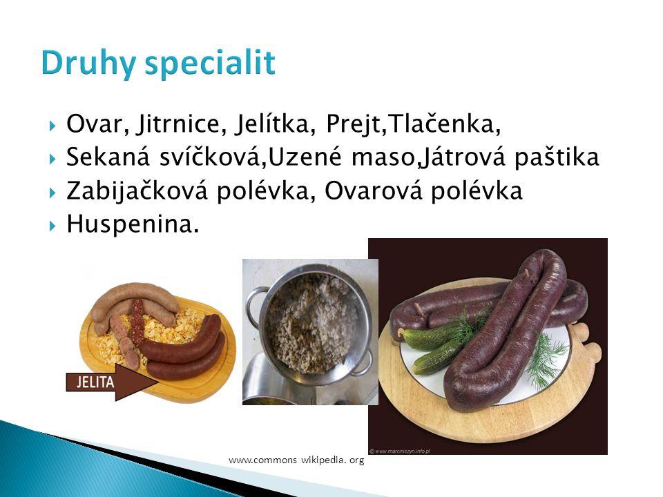Druhy specialit Ovar, Jitrnice, Jelítka, Prejt,Tlačenka,