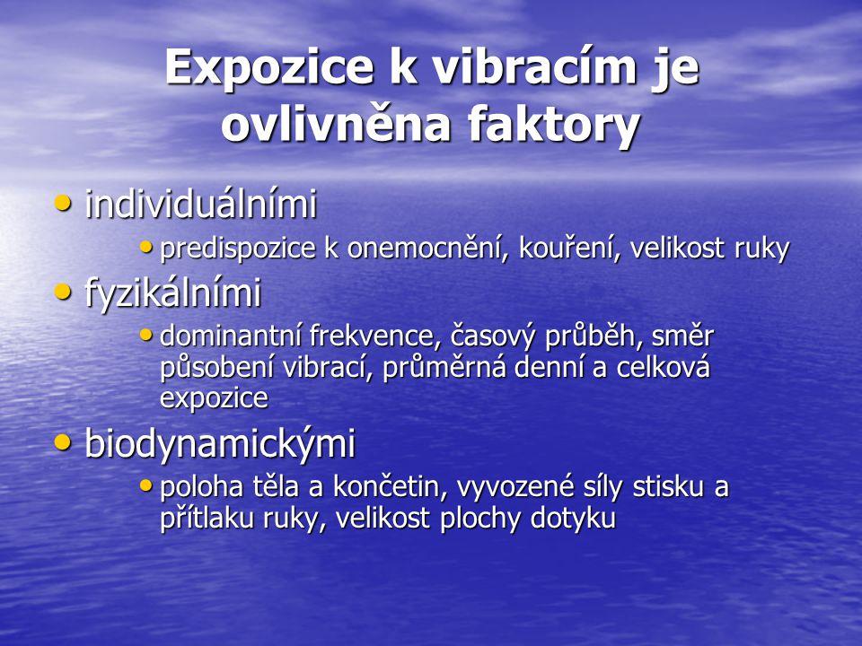 Expozice k vibracím je ovlivněna faktory