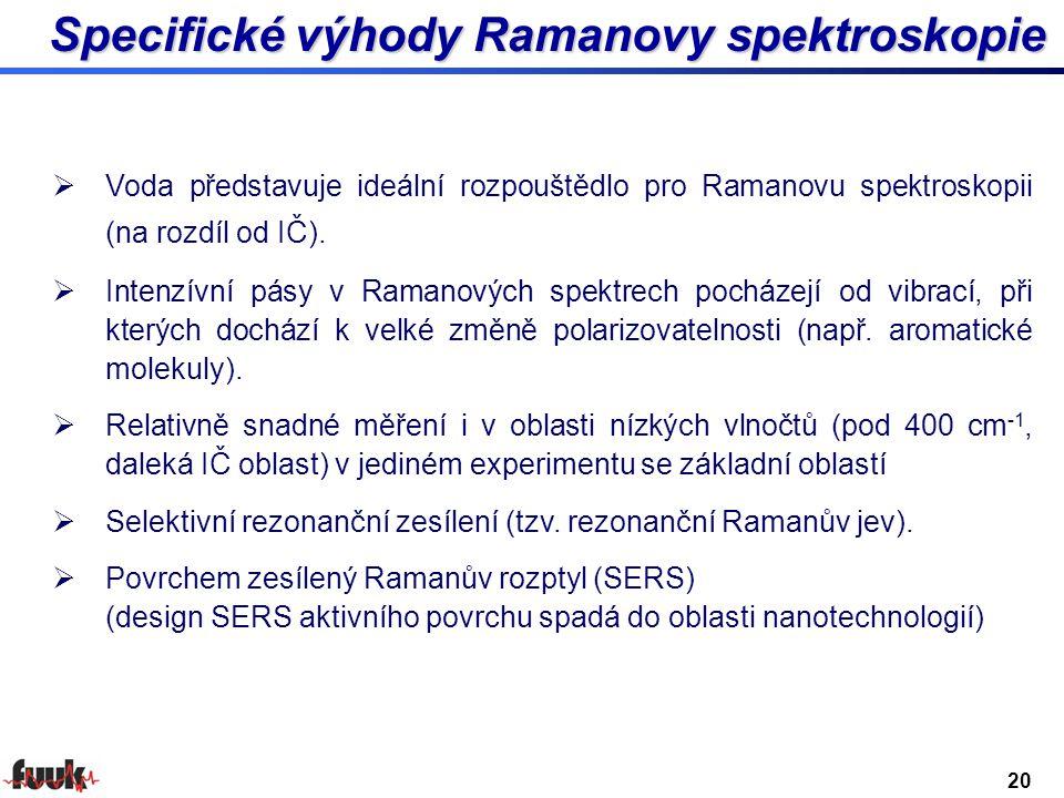 Specifické výhody Ramanovy spektroskopie