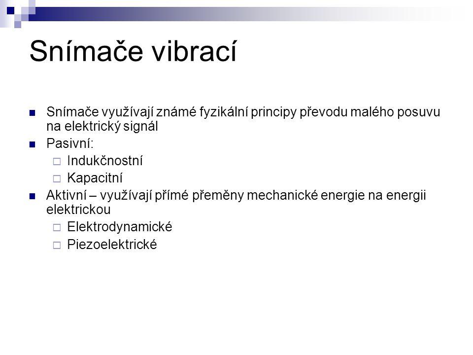 Snímače vibrací Snímače využívají známé fyzikální principy převodu malého posuvu na elektrický signál.