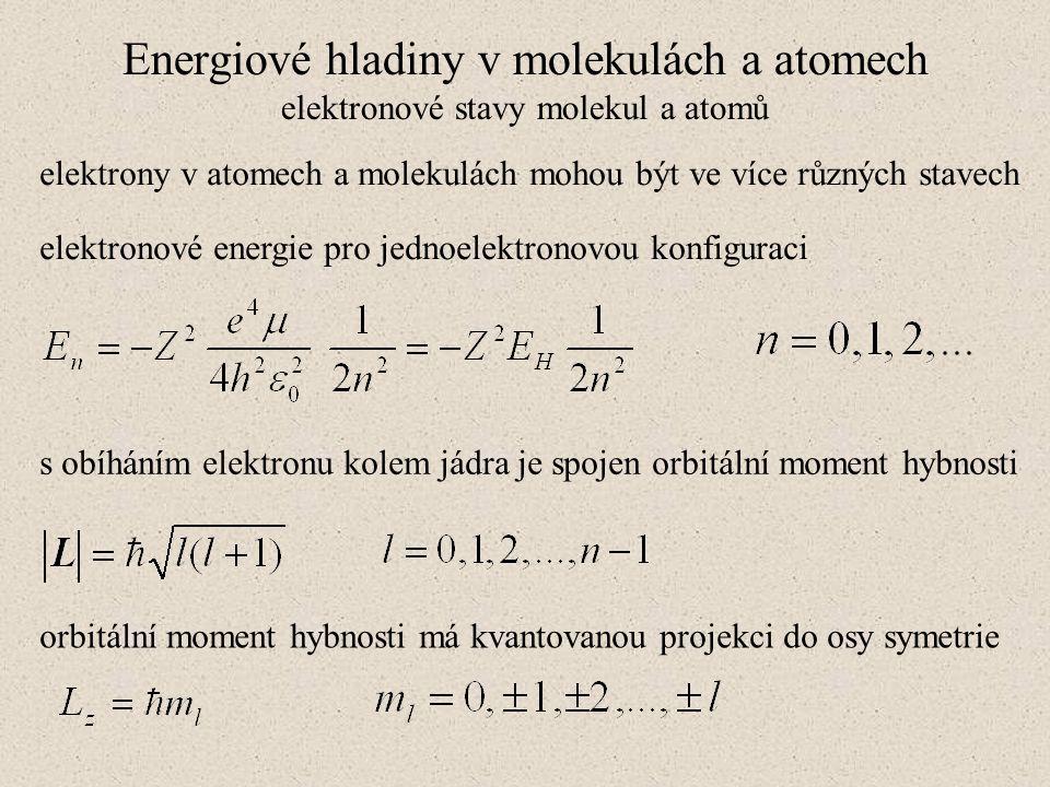 Energiové hladiny v molekulách a atomech elektronové stavy molekul a atomů